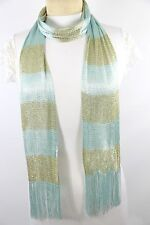 B59 Metallic Lightweight Aqua Light Blue Gold Stripe Long Scarf Boutique