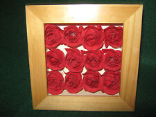 """Roses """"RED"""" Shadow Box (12 Rose Buds) Looks Real! Lovely Cloth / Nature"""
