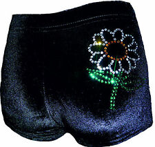 New LILAC LIZARD velour hipster gymnastic / dance shorts ( leotard ) FLOWER