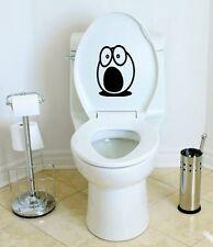 "Shocked Funny Face Toilet Decal Wall Art Bathroom Sticker Cool Fun Gi - 6"" BLACK"