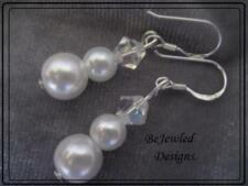 Bridal Crystal & Glass Pearl Earrings ~ White ~ Pierced or Clip-on