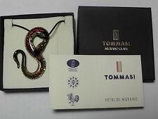 Ciondolo pendente vetro Murano serpente foglia oro argento cristallo collana