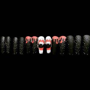 Black halloween Nails, Long Coffin Nails, Press On nails, False Fake Nails,