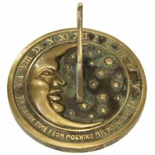 Rome Moon & Stars Sundial - Solid Brass with Verdigris Highlights