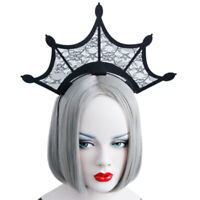 Headband Gothic Halloween Black Queen Tiara Crown Lace Costume Ball Hairb wy