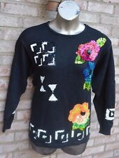 Marnie West Black Embellished Sweater Large  90's 80's Mint Condition Sequin