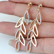 NEW Fashion 18K Gold Plated Leaf Cezch Rhinestone Long Drop Dangle Earrings Gift