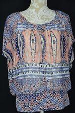 Style&Co. Womens Medium Pink Blue Loose Fit BOHO NEW Short Sleeve Shirt Sheer