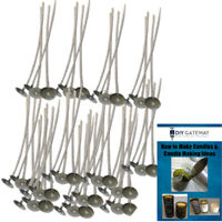 """50 Candle Wicks, 6"""" Long Pre-Tabbed Cotton Core: Candle Making Supplies + Ebook"""