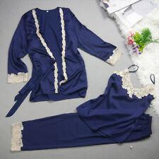 New Luxurious Silk Ladies Womens Set of 3 Royal Blue Pyjamas Pajamas ladpj202
