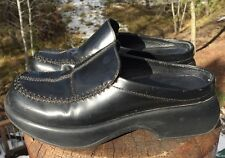 Dansko Women's Black Leather Cross Stitch Loafer Clog Mules Size 37 EU 6.5/7 US