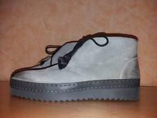 Manas Stiefelette zum Schnüren NEU Gr. 42 in grau & Veloursleder mit Fellzunge