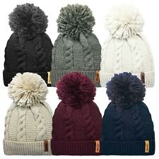 Mens Ladies Coloured Designs Rockjock Ski Bobble Hats Thermal Winter Warm Wear