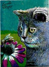 Jacob Landis Limited edition ACEO print /250 grey Kitty cat kitten honey bee