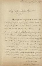 Lettera Autografo Senatore Andrea Guarneri Ministro Sicilia Risorgimento Palermo