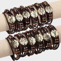 12 Bracelet Zodiac Constellations Leather Adjustable Unisex Alloy Jewelry Bangle