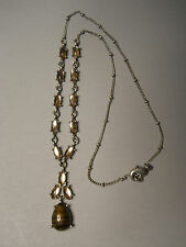 VINTAGE ESTATE COSTUME JEWELRY SILVER & TIGER EYE PENDANT NECKLACE LOT J13