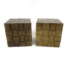 Pottery Barn Brass Woven Cube Bookends Square Heavy Shelf Coffee Table Decor
