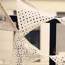 Decor Birthday 10 Flags Banners Lace Fabric Bunting Party Garland Decoration