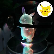 K9 Crystal Lamp Pikachu 3D LED Night Light 7 Colors Lamp for Home Party lighting