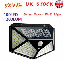 100 LED Solar Powered PIR Motion Sensor Wall Light Outdoor Garden Security Lamp