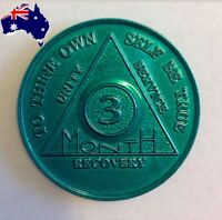 AA alcoholics anonymous 3 month recovery sobriety coin token chip medallion gift