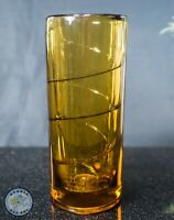 "THICK HEAVY AMBER GLASS CYLINDER VASE WITH SWIRL DESIGN 7"" TALL"