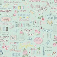 Vintage Shabby Chic Girls Quote Wallpaper Duck Egg/Pink 216714 Free Delivery