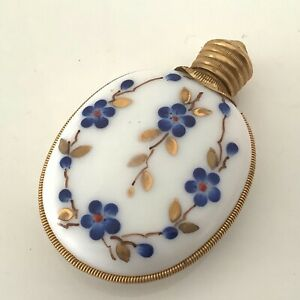 Fine Vintage brass enamel floral perfume/scent bottle ex condition.