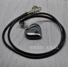 Pretty Hematite Heart Pendant Necklace Ladies Gift Reiki Healing Crystal Stone