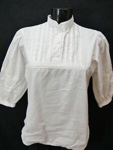Gr.40 Trachtenbluse weiß Bluse Baumwolle mit Stickerei TB6066