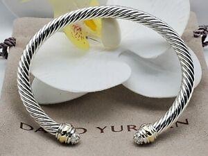 David Yurman Sterling Silver 5mm  bracelet w/diamonds &14k gold sz Medium
