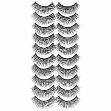 10 Pairs Cross Natural False Eyelashes Handmade Fake Eye Lashes  Black #118