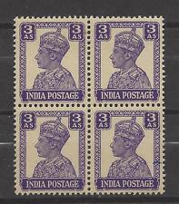 INDIA, BRITISH # 174 MNH KING GEORGE VI  3 ANNA  Block of 4