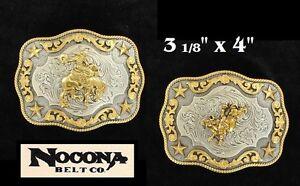 Bullrider - Bronc ~WESTERN BELT BUCKLE~ Square NOCONA Silver Gold Stars 37987