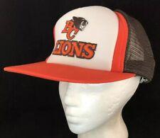 Vtg BC Lions Mesh Trucker Hat CFL Football Team SnapBack Patch Cap Tri Color 80s