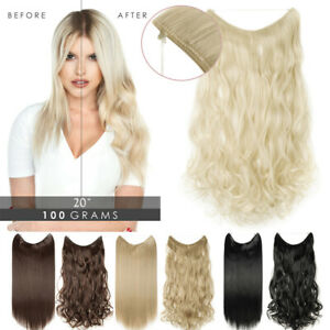 Hidden Thread Invisible Band Wire In Thick Real Hair Extensions As Human Blonde