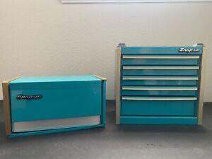 Snap-On Teal Miniature Mini Tool Box Cabinet/Jewelry Box Upper & Lower
