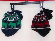 Hat MITTEN Set Winter CAP Boys Tuque GREEN RED Reindeer Moose Elk New NWT $18