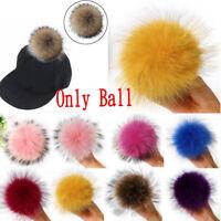 New 1PC Pompom Raccoon Fur Fluffy Pom Pom Ball Hat Accessories DIY Gift