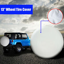 "13"" Universal White Spare Tire Cover For Weather Protection with Elastic Band"