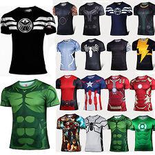 Mens Superhero Marvel Compression Short Sleeve T-Shirt Top Sports Cycling Jersey