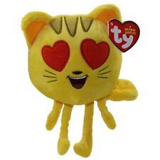 "TY Beanie Baby 6"" CAT HEART EYE Emoji Movie Plush Stuffed Animal w/ Heart Tags"