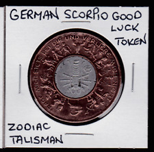 Vintage Bimetalic German SCORPIO Zodiac Talisman Good Luck Token