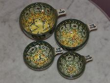 Polish Pottery UNIKAT Measuring Cup Set 1/4 - 1 Cup!  Miss Daisy Pattern