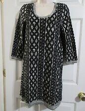 ANTHROPOLOGIE Moth Women's MEDIUM Sweater Dress Tunic Knit Black & Gray NEW $148
