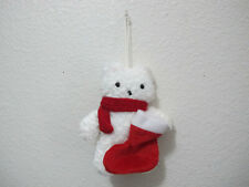 Pre-owned Japan FANCL White Bear Christmas Scarf Stocking Holiday Ornament