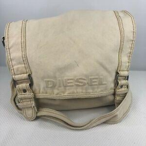 Vintage Diesel Cotton Canvas Messenger Bag Off White Natural Beige
