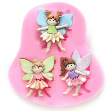Silicone Baby Girl Birthday Party Cake Fondant Mold 3 Angle Clay Sugar Craft NEW