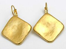 Impressive Yellow Gold 24k Plated Smooth Slide Rhombus Drop Dangle Earrings